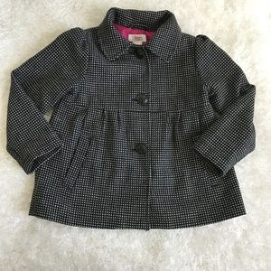 Girl's Black and White PolkaDot Circo Pea Coat 18M